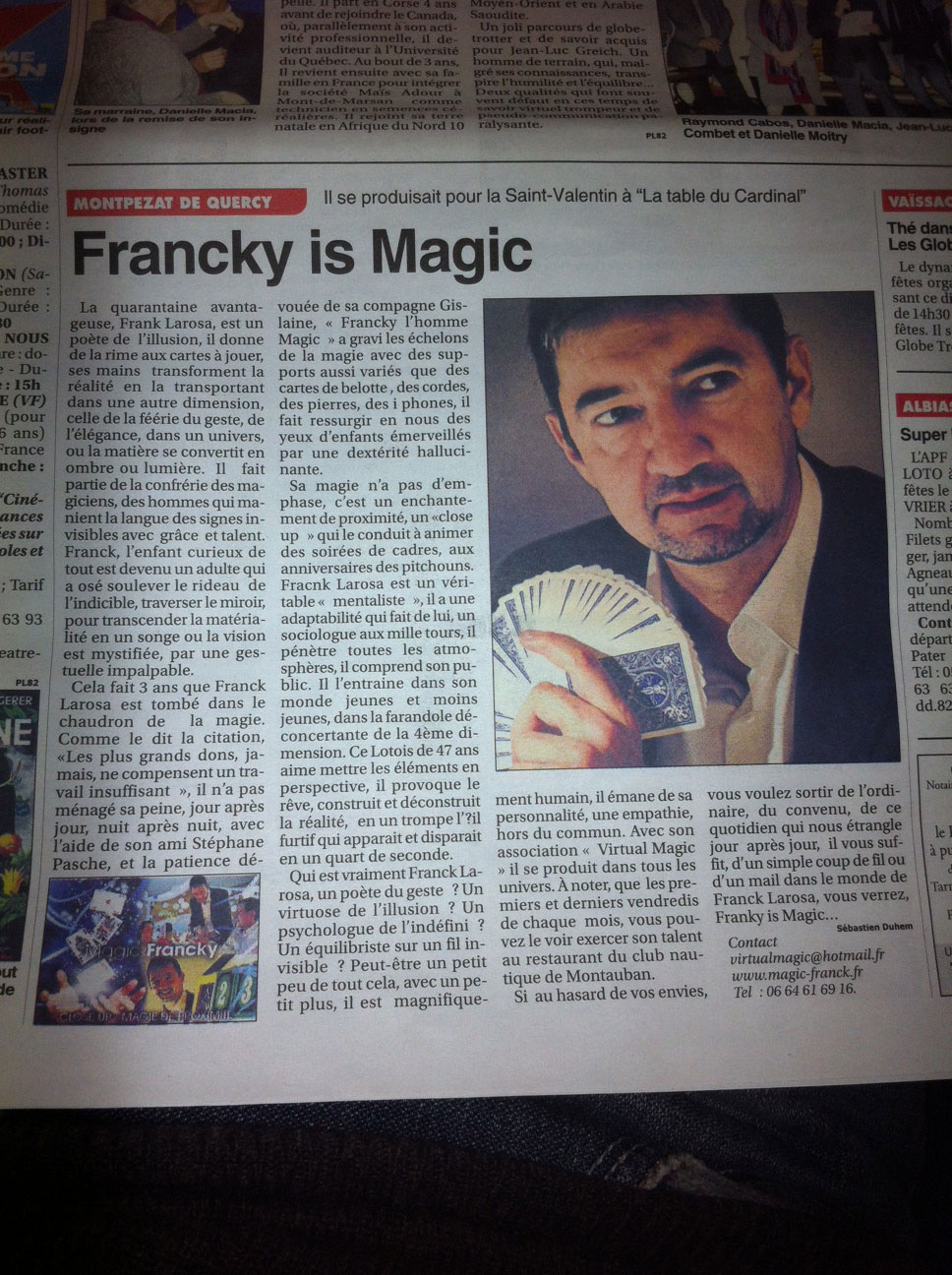 MAGIC FRANCKY DANS LA PRESSE TOULOUSE
