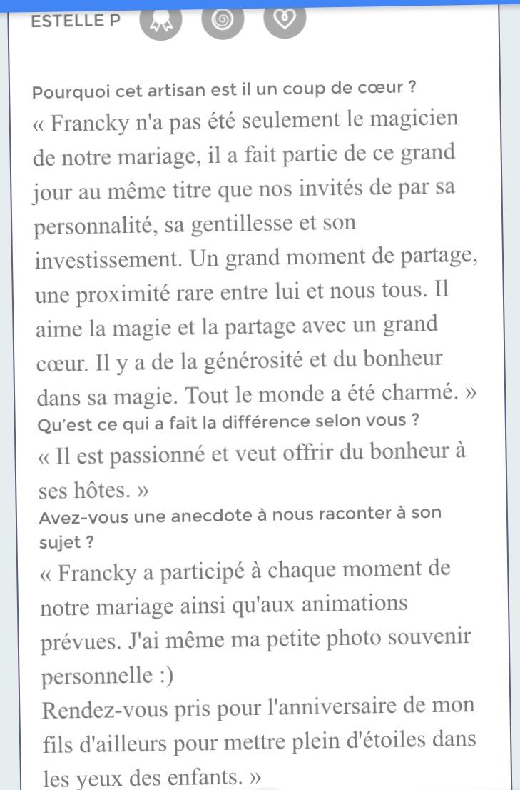 un mariage à toulouse avec franck laroza magic francky